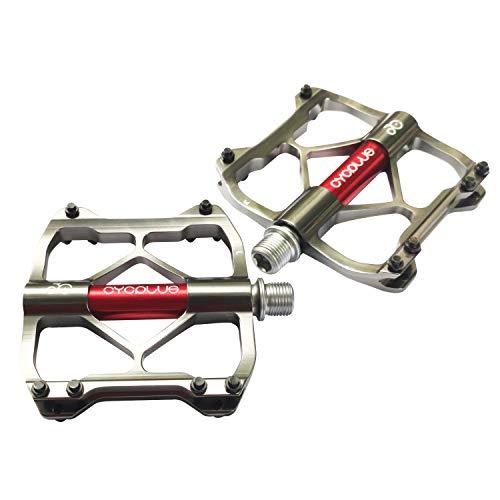 CYCPLUS Fahrradpedale, 3 Läger Mountainbike Rennrad Pedale,Ultralight Aluminiumlegierung Fahrrad Pedale mit großer Plattform und 9/16 Zoll Achse, rutschfest Trekking MTB BMX Pedale