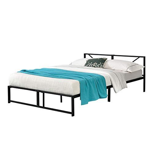 [en.casa] Metallbett 140x200 cm Bettgestell mit Latten Doppelbett bis 300 kg Metallgestell Schwarz