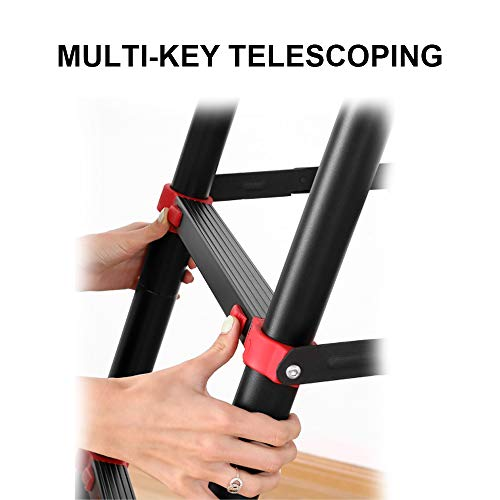 Telescopic Ladder, Step Ladder, Retractable Aluminum Alloy Ladder Multi-Position, Adjustable and Folding Ladder A-Frame, with Handrails and Safety Lock, Non-Slip Pedals, Capacity 330 pounds(5+7)