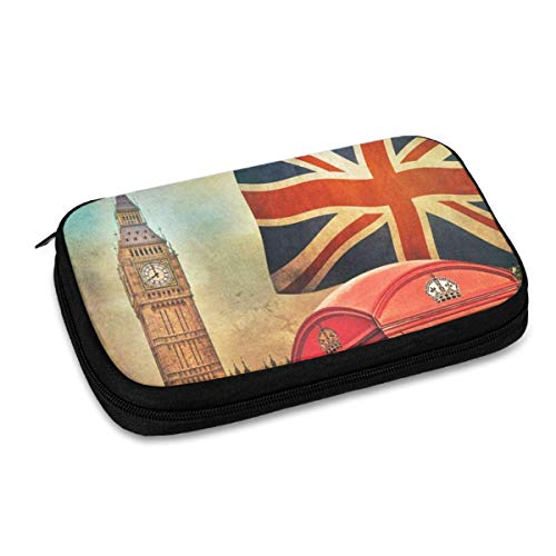 Electronics Organizer Retro Big Ben National Flag Jelly Comb Electronic Accessories Cable Organizer Bag Travel Cable Storage Bag for Cables, Laptop Charger, Tablet (Up to 9.4'')