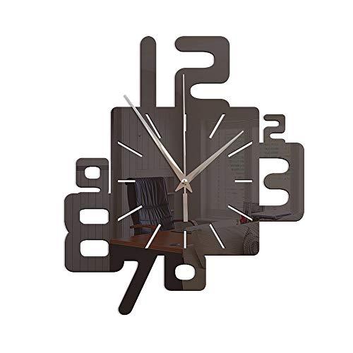 TYXL Wall Clocks Einfache Kreative Digitale Design Wanduhr Schlafzimmer Wohnzimmer Dekoration Uhr 3D Acryl Spiegel Wandaufkleber (Color : Black)