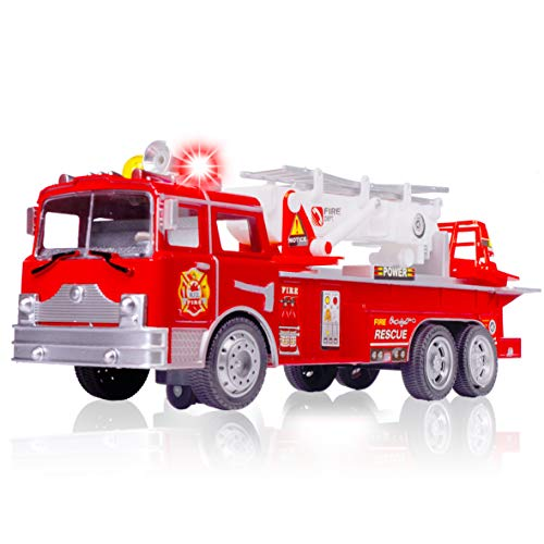 Amazing Fire Engine Truck Kids Toy: Bump & Go Rescue Car - Fire Truck Toys With Realistic Siren Sounds & Extending Ladder-Unique Gift Toys For 3 Year Old Boys & Girls