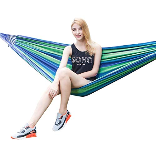 P-Plus International Outdoor Camping Canvas Fabric Portable Garden Hammocks Striped Ultralight Outdoor Beach Swing Bed with Strong Rope,Swing for Garden (280*80CM, Blue)