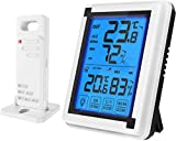 Number-one Indoor Outdoor Thermometer Humidity Monitor, Wireless Digital Hygrometer Humidity Temperature Sensor Large Touchscreen Backlight, Humidity Gauge Meter Cold Resistant Weatherproof