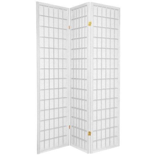 Oriental Furniture 6 ft. Tall Window Pane Shoji Screen - White - 3 Panels