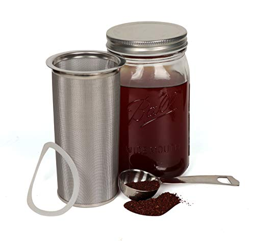 Cold Brew Coffee Maker Filter for Wide Mouth Mason Jar 1 Quart/32ounce-Iced Coffee&Tea&Fruit Maker- mesh Stainless Steel coffee Filter. Free silicone seal gasket &Coffee Scoop. Jar NOT Included