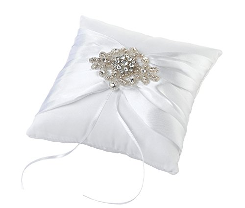 Lillian Rose White Jeweled Rhinestone Wedding Ring Pillow