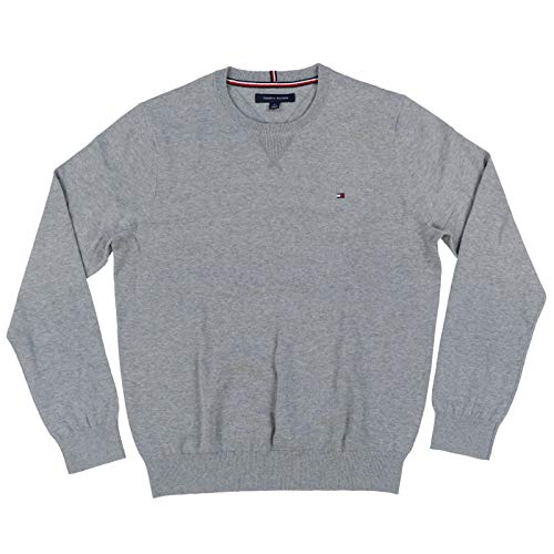 Tommy Hilfiger Mens Crew Neck Sweater (Large, Gray)