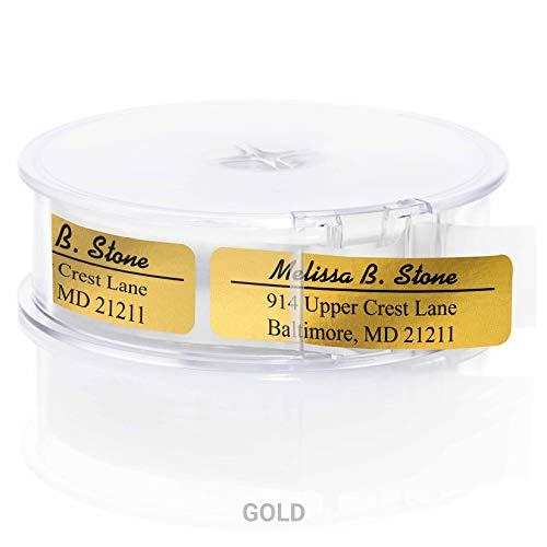 Modern Classic Rolled Return Address Labels with Elegant Plastic Dispenser - Gold Foil