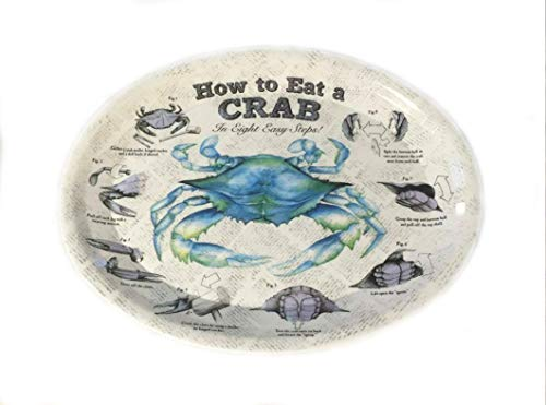 How to Eat Crab Oval Plastic Plates - Set of 4