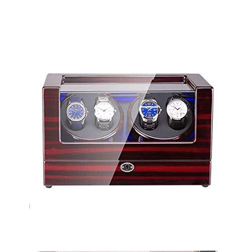 DFBGL Remontoir de montre automatique Box 4, Avec lumière LED, Coque en Bois et Cuir, extérieur de peinture de Piano, Remontoir de montre de moteur Super silencieux