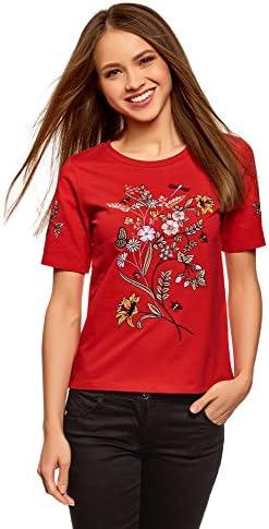 oodji Ultra Mujer Camiseta de Algodón con Bordado