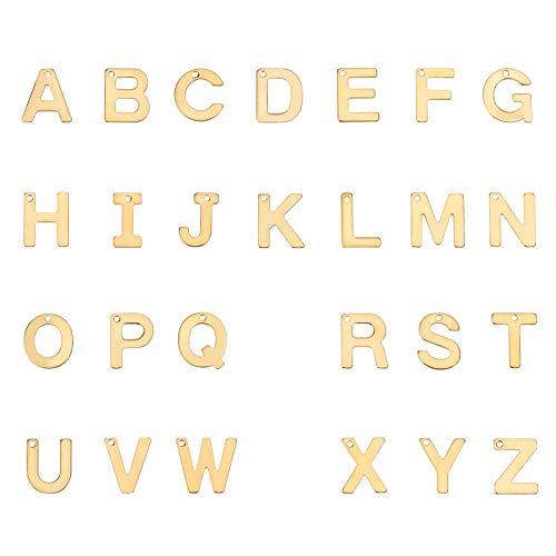 PandaHall - 52 colgantes de acero inoxidable con letras A-Z, colgantes de metal y alfabeto para pulseras, collares y manualidades, color dorado