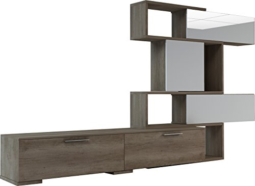 Trasman 4k Kompakte Wohnwand, 1 Türe, 4 Klapptüren, melaminharzbeschichtete melaminharzbeschichtete Holzspanplattenspanplatten, nebraska / weiß / weiß lackiert, 380 x 49 x 187 cm