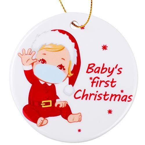 Elcoho - Ornamenti natalizi in ceramica per il primo Natale del bambino, per mamme e papà
