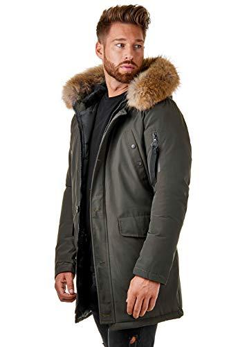 BR1845 Herren Winter-Jacke Echtfell Parka Gefüttert Schwarz Khaki, Größe:S, Farbe:Khaki