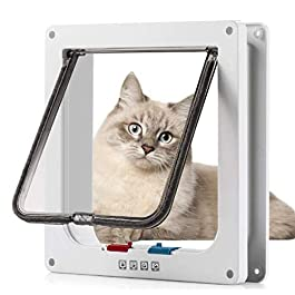 Sailnovo Cat Flap 4 Ways Locking Pet Door flap 23.5 * 25 * 5.5cm, Pet Door Kit for Cats and Small Dogs with Telescopic Frame, Installing Easily