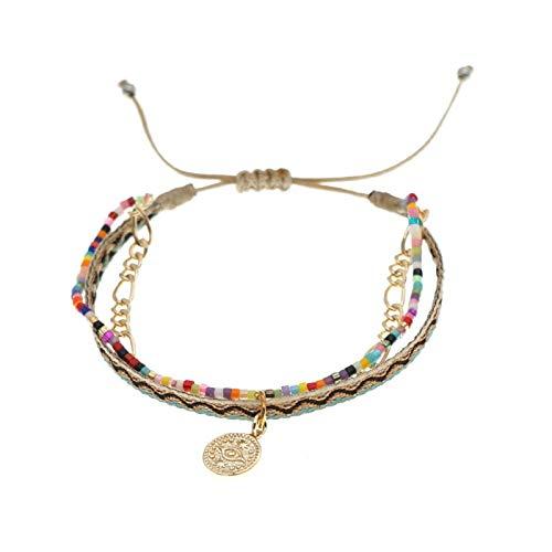 LYRStore886 Pulsera de Encanto Ladies Multi-Capa Joyería Ajustable Cuerda Brayed Jewelry Pulsera Mano de Obra Exquisita, práctica (Color : ZDB200006B)