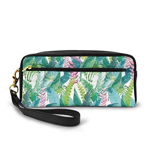 Federmappe aus PU-Leder, klein, Sommerfrühling in exotischer Insel mit Blumen Plumeria Lila Bild, Federtasche Tasche Make-up Tasche