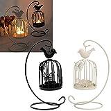 WEIFLY 2 Piezas Soporte de la Vela de Las linternas, portacandelitas Vela y la Vela del té de luz Titular de candelabros para Bodas en Interior, Exterior,Cromo