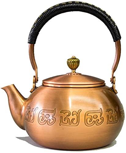 Tetera de cobre QOHG, hervidor de cobre, cobre antiguo puro, hervidor de cobre antiguo hecho a mano, conjunto de té de kung fu, hervidor de tetera