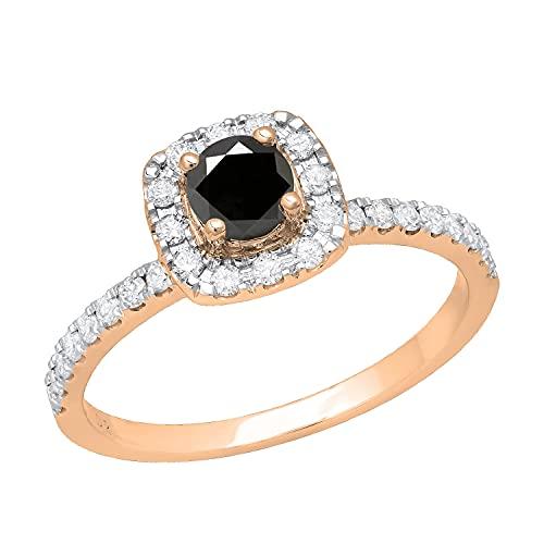 Dazzlingrock Collection Anillo de compromiso redondo de 0,65 quilates de oro rosa de 14 quilates, con diamantes blancos y negros