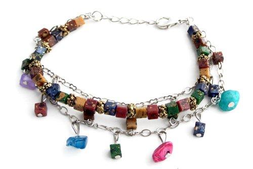 Agathe Creation–Pulsera Fantasía–perlas de piedras teintées y Resine–ajustable par mosquetón con cadena–hecho a mano–bfa35