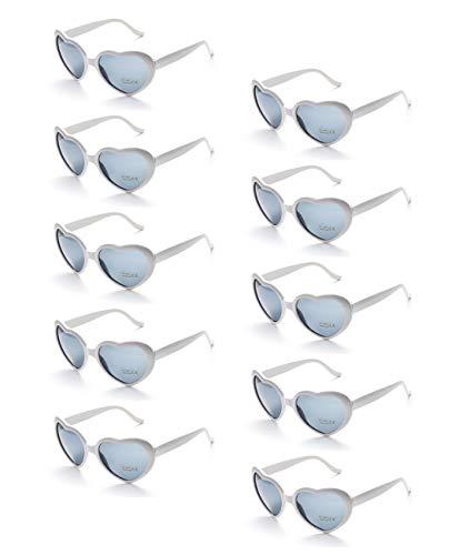 Onnea 10 stuks hart gevormde zonnebril voor kinderen partij gunsten benodigdheden Neon kleuren Unisex groothandel, een maat voor kinderen alleen 3-12 years 10-pack White