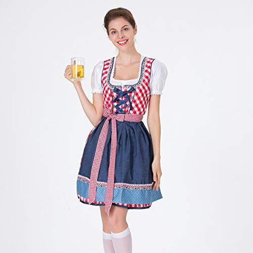 FACAI Oktoberfest Costume Women Floryday Clothing Women Venge Delantal Bavarian Oktoberfest Costumes Barmaid Dirndl Dress (Top + Skirt + Apron) For Party Cocktail Dress,Red-XL