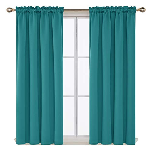 Deconovo Teal Blackout Curtains 2 Panels Sun Blocking Curtains Blackout Window Cover for Small Windows 42W x 45L Inch Teal 1 Pair