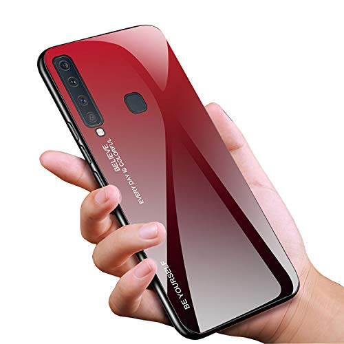 Tybaker Hülle für Samsung Galaxy A9 2018 Handyhülle [9H Gehärtetes Glas] mit Soft TPU Rahmen Gradient Glas Rückseite Farbverlauf Farbe Schutzhülle Glashülle für Samsung Galaxy A9 2018 (Rot)
