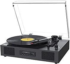 Record Player Bluetooth Turntable with Built-in Speaker, FM Radio USB Recording Audio Music Vintage Portable Turntable for Vinyl Records 3 Speed, LP Phonograph Record Player with Speakers Black