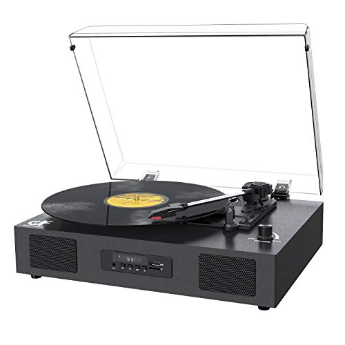 Record Player Bluetooth Turntable with Built-in Speaker, USB Recording Audio Music Vintage Portable Turntable for Vinyl Records 3 Speed, LP Phonograph Record Player with Speakers Black