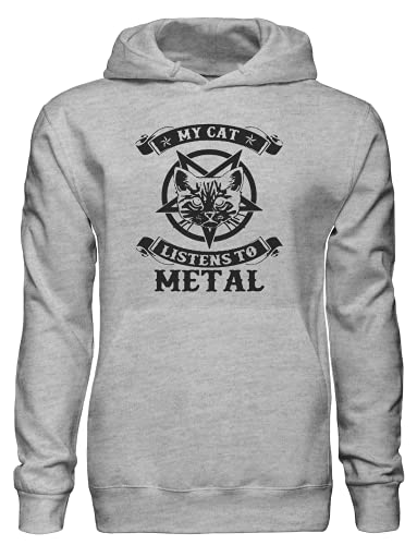 Sudadera con capucha My Cat Listens to Metal Bnft, gris, S
