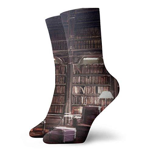 shenguang - Calcetines unisex con cojín para tobillo alto, libros, calcetines deportivos casuales