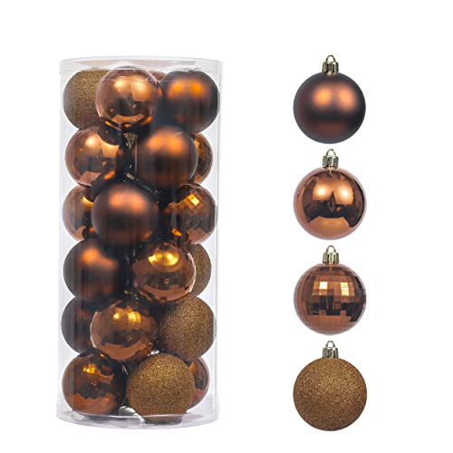 Valery Madelyn 24ct 60mm Copper Gold Christmas Ball Ornaments Decoration, Shatterproof Plastic Xmas Christmas Tree Ornaments Balls