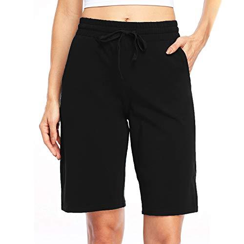 Zainafacai Women's Casual Shorts,Women's Comfot Cotton Elastic Waist Knee Length Bermuda Shorts with Drawstring Plus Size Black
