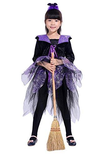RedJade Costume per Le Ragazze - Simpatico Costume di Halloween con Abito e copricapoen Viola