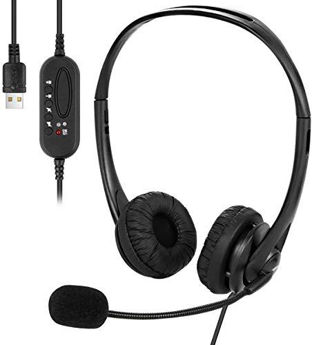 Auricolari USB con microfono cancellazione del rumore e controlli audio, cuffie USB cablate per PC super leggere e confortevoli per chiamate di lavoro