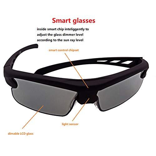 C- Intelligente Sonnenbrille, Polarisierte Intelligente Photochrome LCD-Sonnenbrille UVA UVB Solar Stellen Durchlässigkeits-Dimmer-Intelligente Sonnenbrille Für Das Sport-Fahren EIN