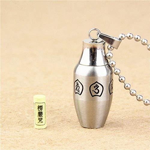 Asche Anhänger Tibet Buddhismus Surangama Mantra Öffnungsbare Anhänger Halskette Sanskrit Amulett Halskette Gebetsflasche Männer Aufbewahrungskoffer Urnenschmuck-Silber mit Kette