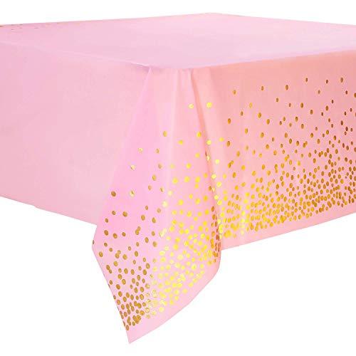 Layal Design Elegante Einweg Plastik Tischdecke | Rosa Gold | Party Geburtstag Birthday Babyparty Baby Shower