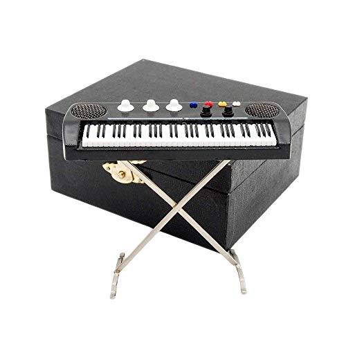 Odoria 1/12 Miniatura Teclado Electrónico con Caso Instrumento Musical para Muñecas