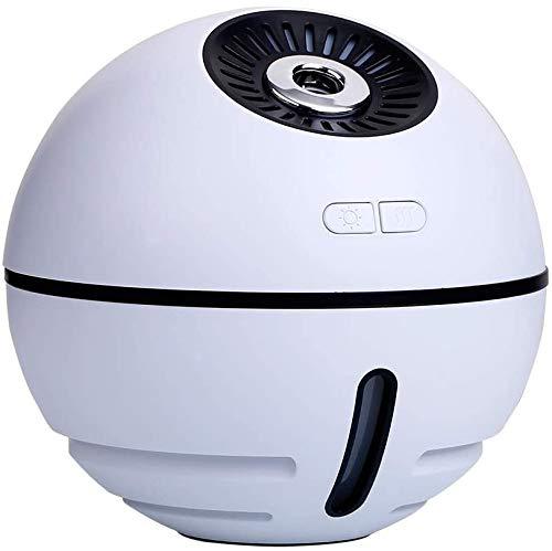 Humidificador de Aire 4 en 1 Recargable 2000mA Batería de Litio incorporada Difusor de humidificador de Aroma ultrasónico pequeño con Ventilador de luz LED (Color: Blanco)
