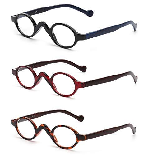 JM 3 Pack Klein Oval Lesebrille Vintage Federscharnier Gläser für Leser Damen +2.5 Schwarz&Rot&Schildkröte