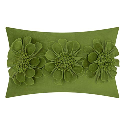JWH 3D Rose Flowers Accent Pillow Case Super Soft Fabric Cushion Cover Home Sofa Bed Living Room Office Chair Car Travel Decor Pillowslip Gift 12 x 20 Inch Grass Green