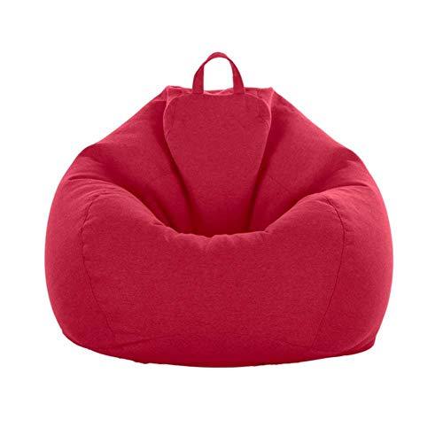 Adulti Bambini Easy Indoor Bean Bag Home Decor Sedia Copridivano Lettino Bean Bag Storage Chair Cover For Senza Riempitivo-Rosso 80X90 Cm