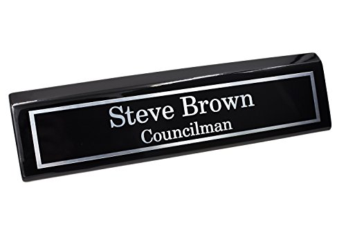 Custom Desk Name Plate | Silver Aluminum Plate on Black Wedge with Piano Finish | Custom Name Wedge | Personalized Black Desk Wedge
