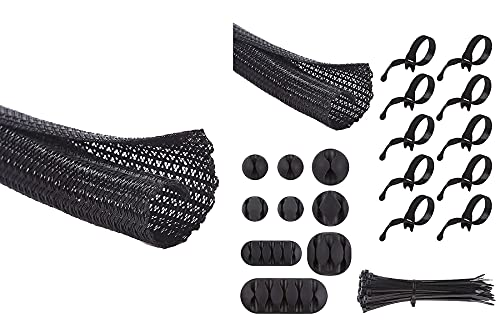 Alex Tech 25ft - 1 inch and 10ft - 1/2 inch Split Sleeving, 9 pieces Cable Clips, 10 pieces Reusable Cable Ties, 50 pieces 8 inch Nylon Cable Ties for Computer Home Office - Black