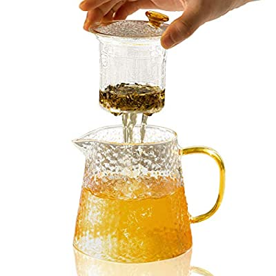 PARACITY Teapot 15OZ Borosilicate Glass Tea Maker with Removable Infuser for Loose Leaf Tea Pot Kettle
